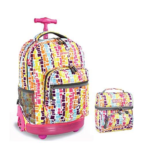 j-world-new-york-sunrise-rolling-backpack-corey-lunch-bag-set-squares-neon
