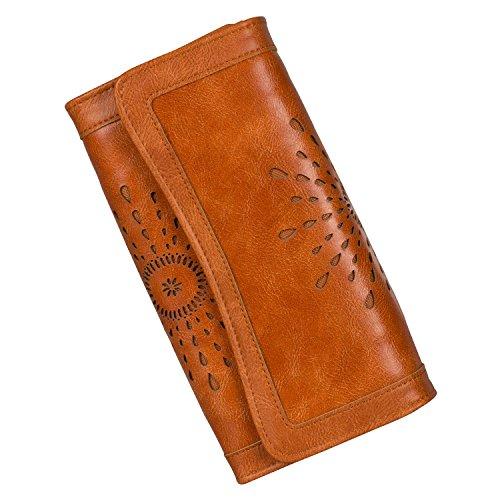 Noedy Women's Leather Clutch Wallet Card Holder Retro Ladies Long Purses Brown