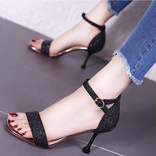 GTVERNH Sommer Zehen Sandalen Schnallen 8Cm Eleganz Damenschuhe Und Einfachheit Temperament Katze Und Damenschuhe Schuhe. schwarz d14127