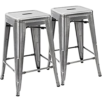 devoko metal bar stool tolix style barstool modern industrial backless light weight bar stools with square seat set of 2 silver
