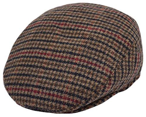 Classic Wool Ivy Cap - Classic Men's Flat Hat Wool Newsboy Herringbone Tweed Driving Cap (IV1933-Brown, X-Large)