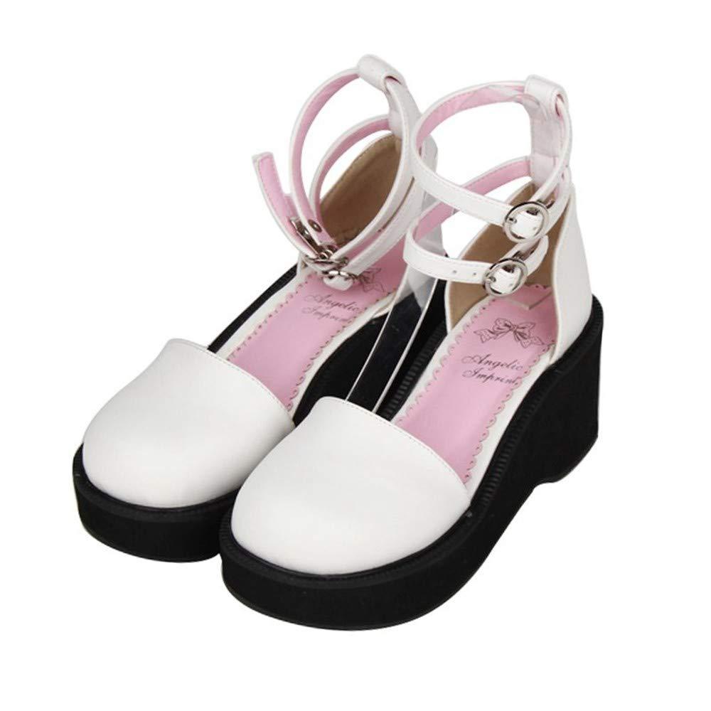 PINGXIANNV Lolita Damenschuhe Runder Kopf Dicker Boden Keil Muffin Prinzessin Schuhe Kleid Schuhe