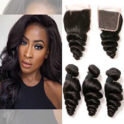 Peruvian Loose Wave Closure 4X4 Free Part Pre Plucked Closure With 3 Bundles Unprocessed Virgin Hair Extension Wholesale Lots Real Human Hair Weave For Black Woman Natural 1B 20 22 24+18 -
