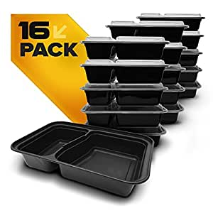 Fitpacker DUO USA Made Meal Prep Containers 16-Pack 2 Compartment Bento Lunch Boxes with Lids - Stackable, Reusable, Microwave, Dishwasher & Freezer Safe - Portion Control & Food Storage Containers