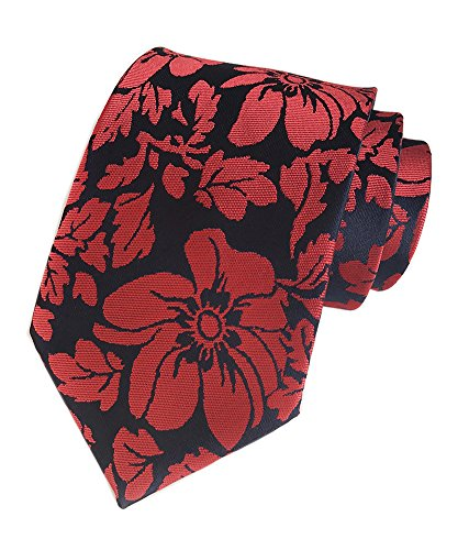 Men's Boy Navy Blue Red Tie Floral Fashion Woven Silk Paisley Bridegroom Necktie]()