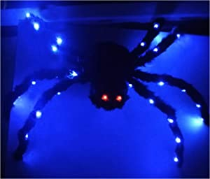 HAOAN Led Black Hairy Spider Halloween Light up Giant Spider Plush Toy Props for Party Outdoor Yard Decor