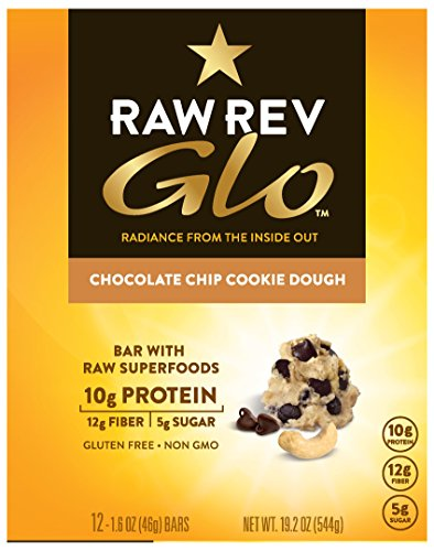 Raw Rev Glo Vegan Gluten-Free Protein Bars, Chocolate Chip Cookie Dough, 12 Count Box of 1.6 Ounce Bars (2 Boxes) 10g Protein, 5g Sugar, 12g Fiber, Vegan, Plant-Based Protein, Gluten-Free Snack Bar by Raw Rev Glo (Image #1)