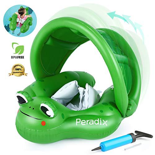 Peradix Flotador de Natación para Bebé.Flotadores para bebés con Bomba Manual,Flotador Cuello Bebe Ajustable Inflable Doble Airbag Flotador de Natación Piscina Nadar Anillo para Niños (Verde)