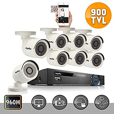 Sannce 8CH 960H CCTV DVR Recorder w/ 8x 800TVL Weatherproof Surveillance Camera System(P2P Technology/E-Cloud Service, Smartphone QR Code Scan Quick Access,USB Backup, Night Vision, NO HDD)