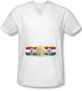 75b5feb1 Amazon.com: Rocky - Mens Championship Belt(Bottom Front) V-Neck T ...