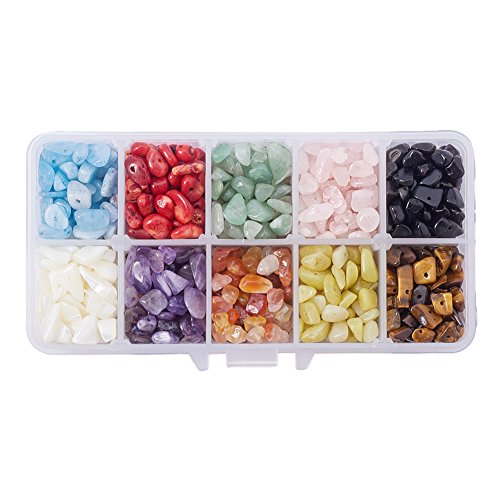 PandaHall Elite 1 Box Chip Gemstone Beads Crushed Pieces Stone Length 5-8mm for Jewelry Making 10 Styles