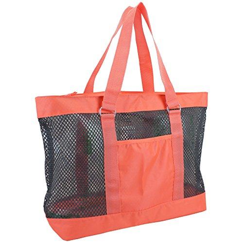 eastsport-mesh-tote-beach-bag-sunkist-coral-orange-gray