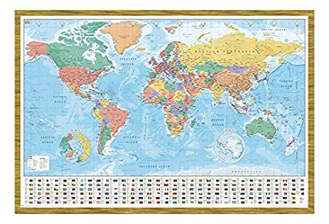 Amazon world map with flags and facts poster magnetic notice world map with flags and facts poster magnetic notice board oak framed 965 x 66 gumiabroncs
