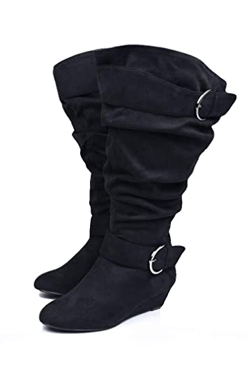 2f4e48a154a9 Image Unavailable. Image not available for. Color  Curvy Women s - Black  Slouchy Buckle Boots - Wide Width ...
