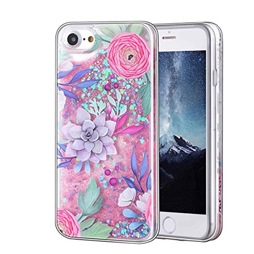 - Glitter Bling Floating Quicksand Flower Case Cover For Apple Apple iPhone 7 Plus Case Silicone 7 Series Transparent Clear Liquid Case For Phone (Design 2)
