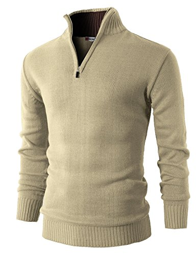 H2H Mens Casual Basic Pullover Sweater of Neck Zipper Beige US 2XL/Asia 3XL (KMOSWL021)