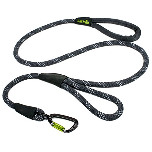 Handle Double Control (Tuff Mutt Dog Climbing Inspired Rope Leash, Medium Large Breeds, Double Handle Control, Reflective Stitching Nighttime Safety, Durable 5 Foot Lead, Secure Lightweight Swivel Carabiner)