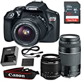 Canon EOS Rebel T6 DSLR Camera with 18-55mm IS II & EF 75-300mm f/4-5.6 III Lens & SanDisk 32GB Memory Card (Certified Refurbished)