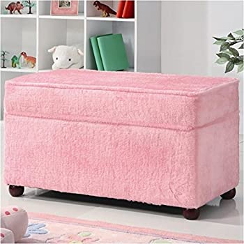 Amazon.com: Kids Storage Bench in Fuzzy Pink Fabric: Kitchen & Dining