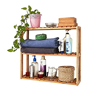 Trustiwood Bamboo Bathroom Shelf Adjustable 3-Tier Multifunctional Layer Rack Bathroom Kitchen Living Room Holder Wall Mounted Storage Organizer Standing Shelf - 【Multifunctional Use】The bamboo shelf is suitable to be placed in the hall, living room, bedroom, balcony or on the kitchen, bathroom wall. With the 3 tiers bamboo storage shelf you can have enough space to place many your stuffs, such as toiletries, towels, sundries, shoes, books, plants, spice and small appliances, help you organize your home comfortable and tidy. 【Adjustable 3-Tier Bamboo Rack】The 3-tier storage rack is crafted with durable and environmental-friendly bamboo whose surface is smooth and safe. Three tiers provide ample space for organizing and displaying your towels, shampoos, books, plants, shoes in bathroom, living room, balcony, kitchen etc. 【Light Weight and Easy to Move】 Wall Mounted or just standing by the wall, saving space and making your home neat and well-organized.Light weight makes it easy and convenient to be moved in your home. - wall-shelves, living-room-furniture, living-room - 510SoBhNQHL. SS400  -