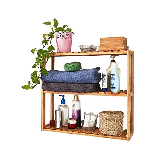 Trustiwood Bamboo Bathroom Shelf Adjustable 3-Tier Multifunctional Layer Rack Bathroom Kitchen Living Room Holder Wall Mounted Storage Organizer Standing Shelf - 【Multifunctional Use】The bamboo shelf is suitable to be placed in the hall, living room, bedroom, balcony or on the kitchen, bathroom wall. With the 3 tiers bamboo storage shelf you can have enough space to place many your stuffs, such as toiletries, towels, sundries, shoes, books, plants, spice and small appliances, help you organize your home comfortable and tidy. 【Adjustable 3-Tier Bamboo Rack】The 3-tier storage rack is crafted with durable and environmental-friendly bamboo whose surface is smooth and safe. Three tiers provide ample space for organizing and displaying your towels, shampoos, books, plants, shoes in bathroom, living room, balcony, kitchen etc. 【Light Weight and Easy to Move】 Wall Mounted or just standing by the wall, saving space and making your home neat and well-organized.Light weight makes it easy and convenient to be moved in your home. - wall-shelves, living-room-furniture, living-room - 510SoBhNQHL. SS570  -