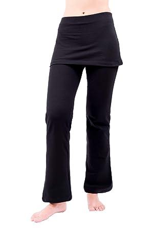 9bc6a1c60c1 NIRLON Skirted Yoga Pants Tummy Control Skort Athletic Gathered Skirt Boot  Leg Leggings Black