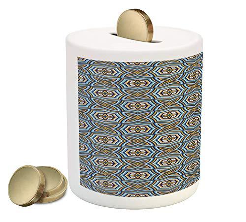 Lunarable Talavera Piggy Bank, Energetic and Abstract Design Symmetric Mosaic Art, Printed Ceramic Coin Bank Money Box for Cash Saving, Sky Blue Night Blue Marigold Pale Eggshell - Eggshell Mosaic Box