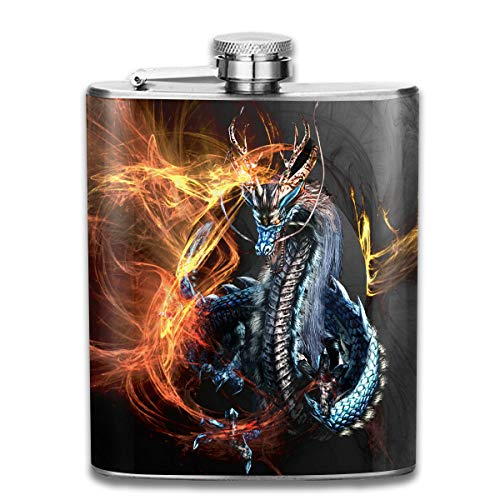 Men and Women Thick Stainless Steel Hip Flask Outdoor Mini Portable God Beast Flame Dragon Portable Adult Pocket Flagon Whiskey Container Flask Pocket 7 Oz 304 Thick for Unisex