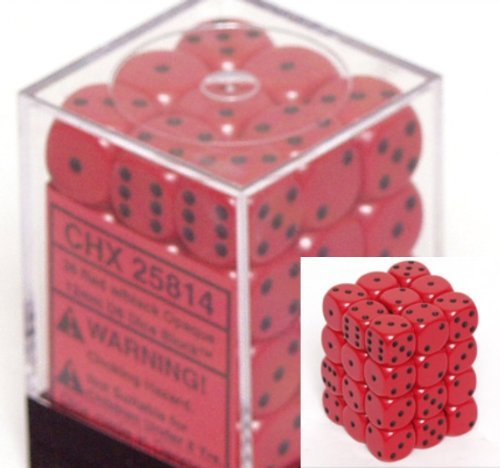 Chessex Dice d6 Sets: Opaque Red with Black - 12mm Six Sided Die (36) Block of Dice ()