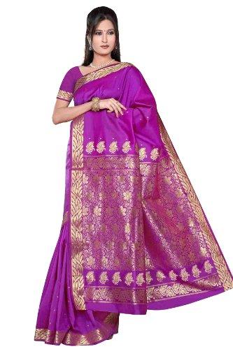 (Indian Selections - Violet red - Benares Art Silk Sari / Saree (India))