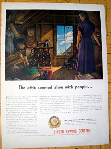 Ads Vintage Appliance (1951 Singer Sewing Machine-View Grandma's Attic-Original 13.5 * 10.5 Magazine Ad)