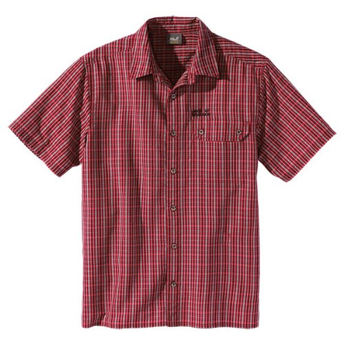 Jack Wolfskin Herren Hemd Mount Kenya Shirt Men, Indian Red Checks, S, 1400421-7286002