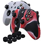 YoRHa Silicone Cover Skin Case for Microsoft Xbox One X & Xbox One S controller x 2(Camouflage red&White) With PRO thumb grips x 8