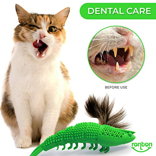 Ronton Cat Toothbrush Catnip Toy - Durable Hard Rubber - Cat Dental Care, Cat Interactive Toothbrush Chew Toy, Refillable Catnip Kitten Teaser Toy with Bell 8