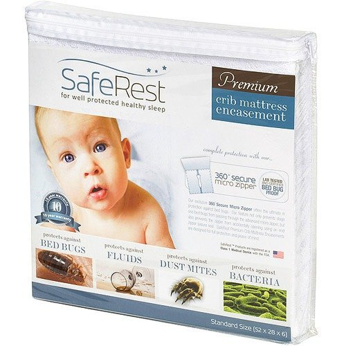 Breathable Membrane - SafeRest Premium Hypoallergenic Waterproof Certified Bed Bug Proof Crib Mattress Encasement - Vinyl, PVC and Phthalate Free - (52