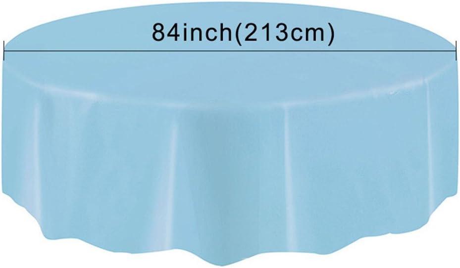 213 cm de Table pour Partie//Anniversaire//F/êtes Yunt Nappe Jetable Nappe Ronde Antitache de PEVA 213 Rose