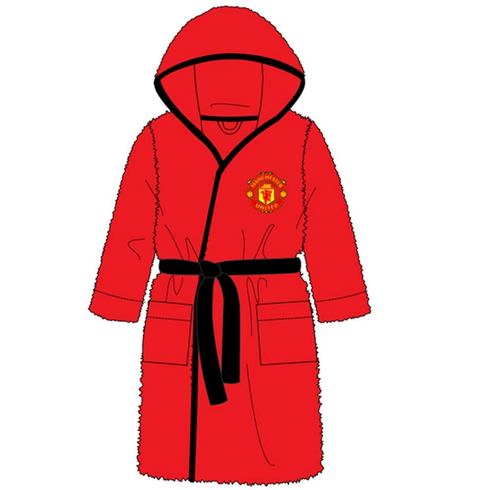 Kids Boys Girls Manchester United Football Dressing Gown Bathrobe Man United - Sizes 3-12 Years Manchester United F.C. WH31001
