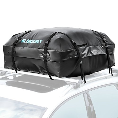 Roof Rack Cargo Carrier Storage - RABBITGOO Waterproof Rooftop Cargo Carrier Easy to Install Straps - Soft Shell Luggage Rack Bag on Car Topper (15 Cubic Feet)