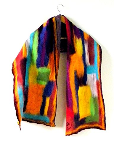 Felted Merino Wool Jacket (Burgundy multicolor wool felted abstract shawl Art to wear New year gift)
