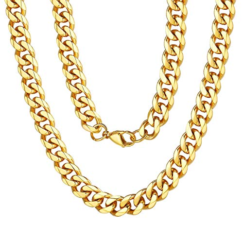 FOCALOOK Classic Boys Mens Necklace Women Girls Fashion Jewelry 316L Stainless Steel Based 18k Gold Plated 9mm 1:1 Hip Hop Thick Solid Cuban Curb Miami Link Chain -18 Inches (Send Gift Box)