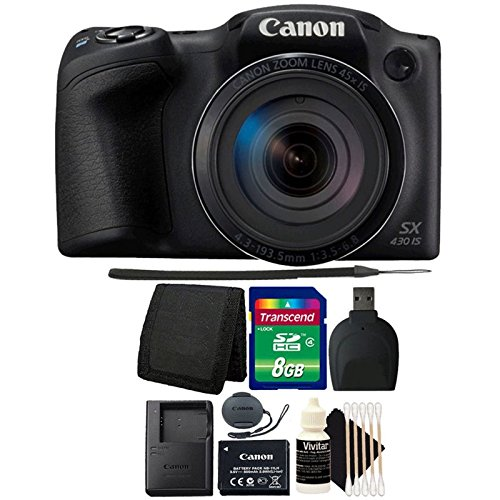 Canon PowerShot SX430 IS Black Digital Camera + 8GB Memory Card + Wallet + Reader + 3pc Cleaning Kit