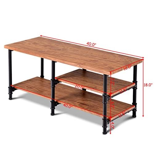 Farmhouse Coffee Tables Giantex 3-Tier Rustic Coffee Table Metal Frame Living Room Furniture Vintage Wood Look Industrial Style TV Sofa Side… farmhouse coffee tables
