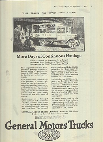 More Days of Continuous Haulage GMC Milk Truck ad 1922 LD