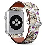Compatible with Small Apple Watch 38mm & 40mm Leather Watch Wrist Band Strap Bracelet with Stainless Steel Clasp and Adapters (Watercolor Tattoo Concept Skull)