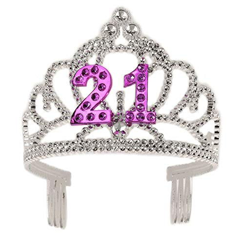 Forum Novelties Happy Birthday 21st Silver Pink Tiara ()