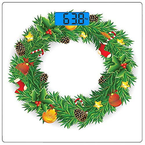 - Precision Digital Body Weight Scale Christmas Ultra Slim Tempered Glass Bathroom Scale Accurate Weight Measurements,Festive Wreath Evergreen with Candy Cane Stockings Mistletoe Berries on Door,Coral D