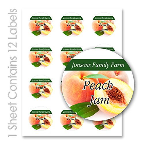 Fruit Jam Jelly/Personalized Name Round Mason Jar Labels (Peach, 5 Sheets / 60 Labels) (Peach Label)