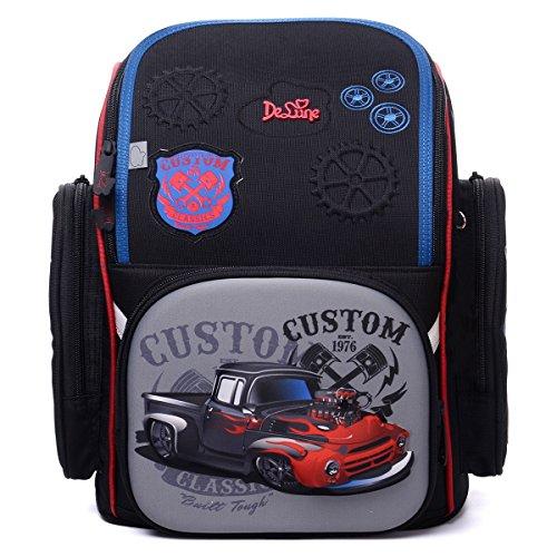 Delune 3D Cartoon Printing Bookbag Orthopedic School Backpack for Boys and  Girls (Classic Car) c7523676f9