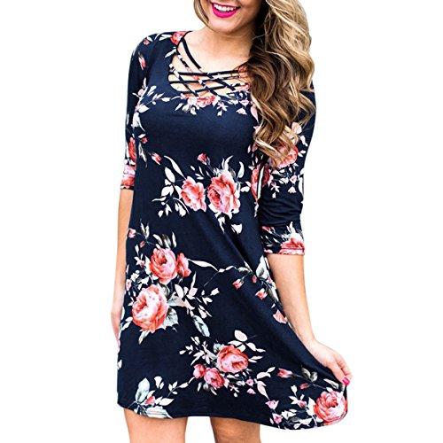 Xl Warm Metals (TAORE Women Casual Long Sleeve Floral Printing Dress Tunic Tops Casual Swing Tee Shirt Dress (XL, WAB-Dark Blue))