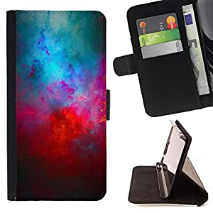 DEVIL CASE - FOR Apple Iphone 6 - Universe Cosmos Red Blue Galaxy Modern Art - Style PU Leather Case Wallet Flip Stand Flap Closure Cover